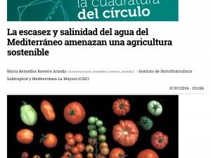 La escasez y salinidad del agua del Mediterráneo amenazan una agricultura sostenible