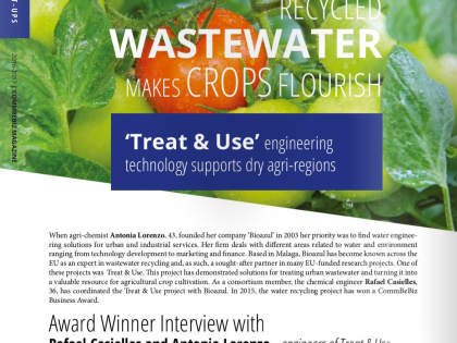 Recycled waste water makes crops flourish