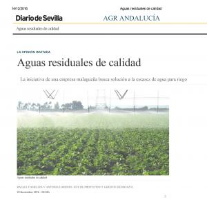Aguas residuales de calidad en la agricultura en Andalucía